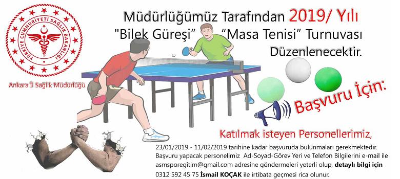 2019 Yılı -Bilek Güreşi ve Masa Tenisi Turnuvası