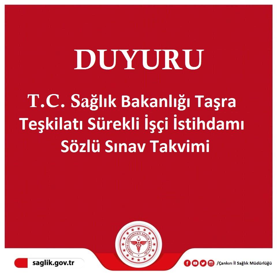 T.C. Sağlık Bakanlığı Taşra Teşkilatı Sürekli İşçi İstihdamı Sözlü Sınav Takvimi