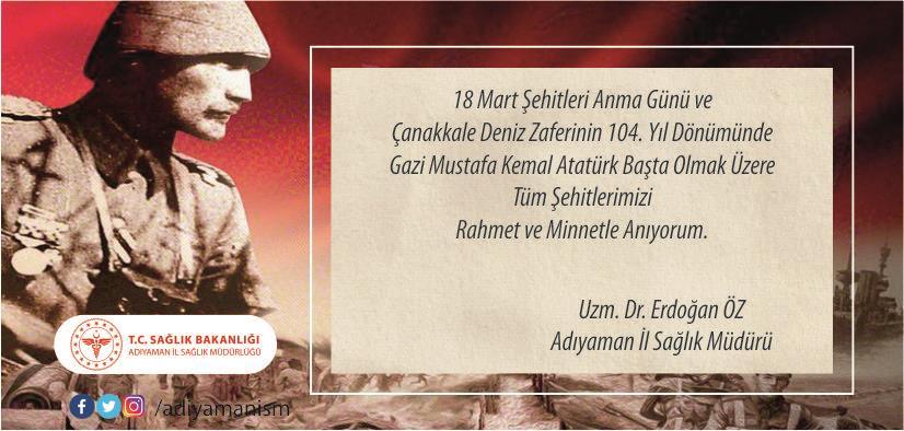 18 Mart Şehitleri Anma Günü ve Çanakkale Deniz Zaferinin 104. Yıl Dönümü
