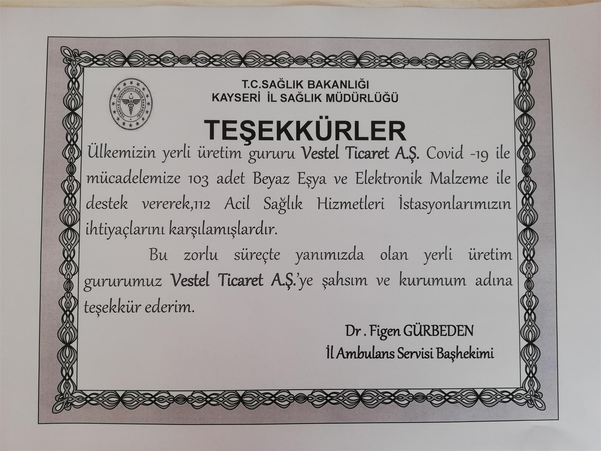 TEŞEKKÜRLER Vestel Ticaret  A.Ş.