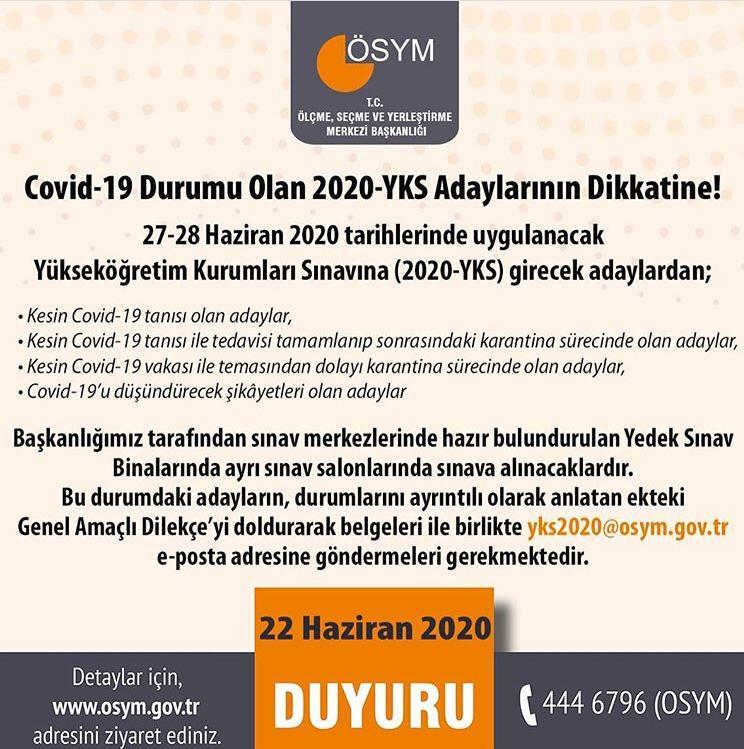 Covid-19 Durumu Olan 2020-YKS Adaylarının Dikkatine