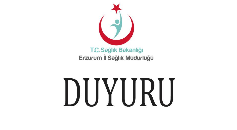 Erzurum İl Sağlık Müdürlüğü Tarafından Personel Çalıştırılmasına Dayalı Hizmet Alımı Personeli Sınav Takvimi